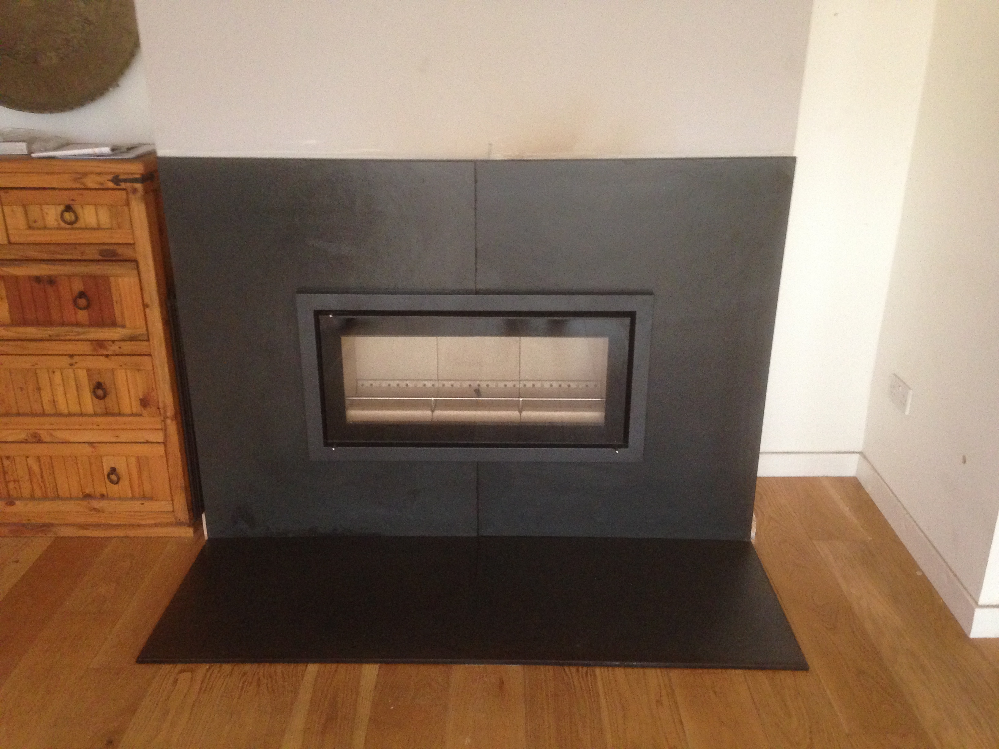 slate hearth and backing inset stove d and o builders