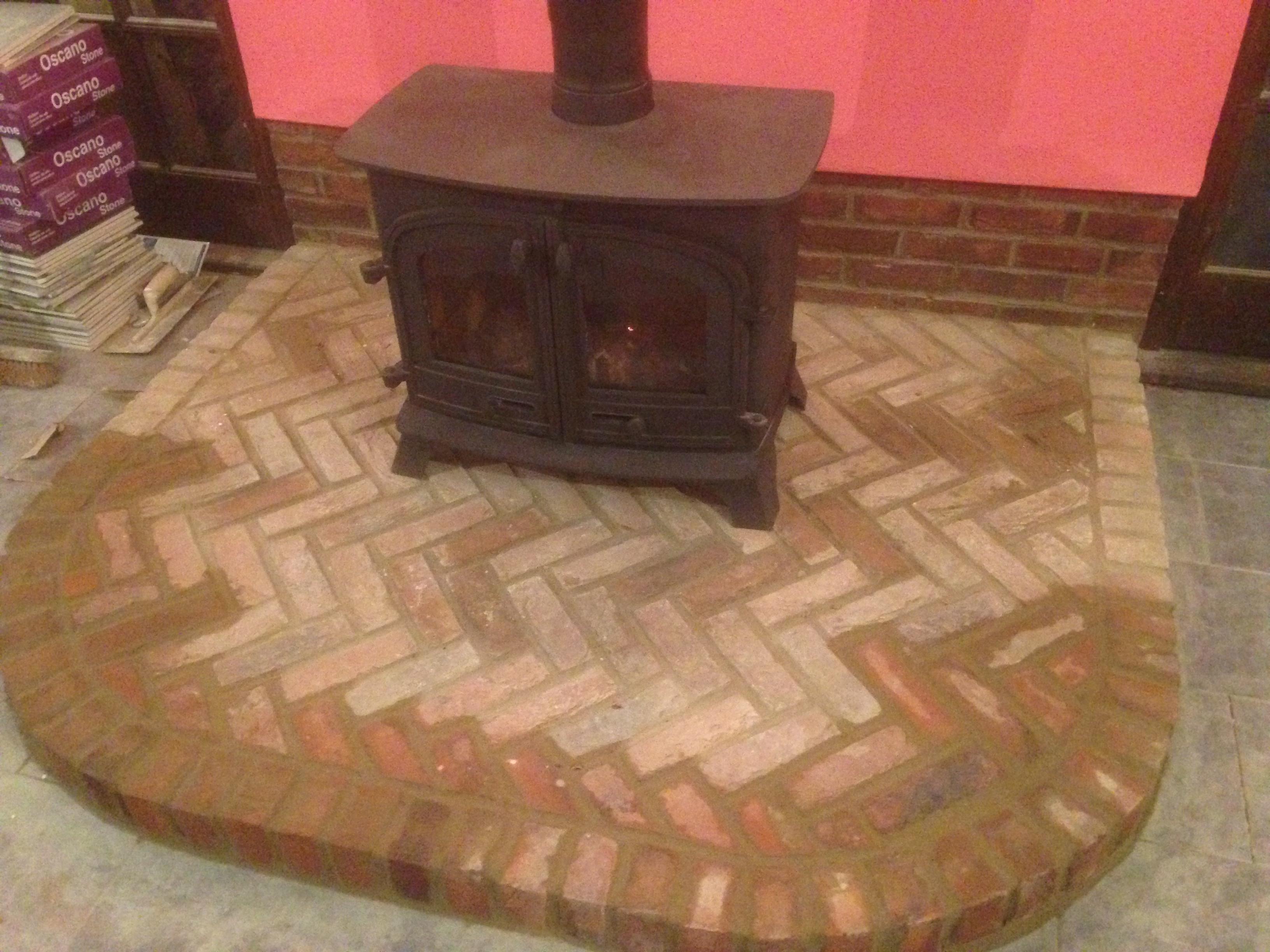 Herringbone Brick Hearth With Free Standing Stove Going To